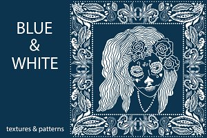 Blue and White Textures and Patterns