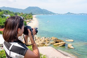 Woman photography at Lamai beach