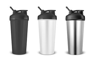 Sports Nutrition Shaker. Vector set.