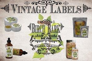 Birch Bark Vintage Labels