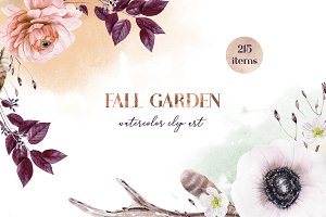 Fall garden watercolor clip art