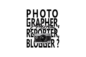 Camera and lettering fashion print