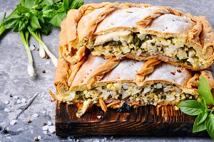 Pie with green and eggs