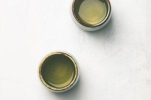 Tea composition on grey background