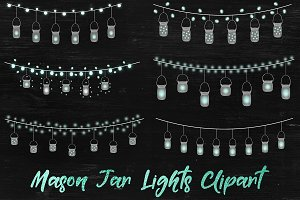 Fairy Lights Overlays - Mason Jars