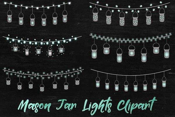 Fairy Lights Overlays - Mason Jars