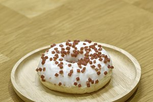 Strawberry donut on table