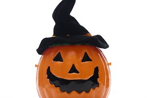 Halloween pumpkin in black hat