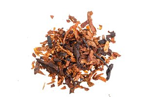 dried smoking tobacco isolated on