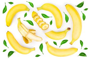 whole and sliced bananas decorated