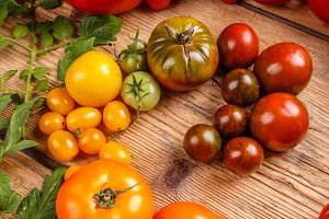 Colorful organic tomatoes