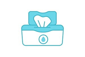 Wet wipes pack color icon