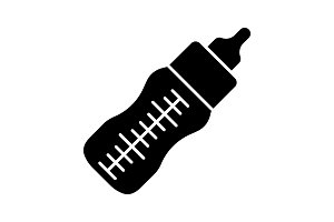 Baby feeding bottle glyph icon