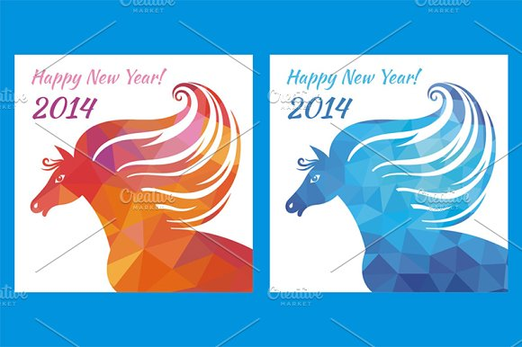 horse happy new year illustrations