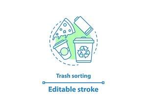 Trash sorting concept icon