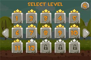 Stone Level selection screen. Game