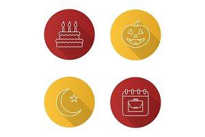 Holidays icons set