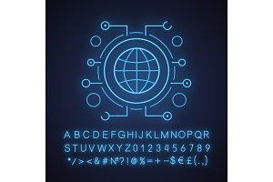 Global network neon light icon
