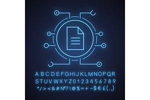 Web document neon light icon