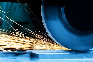 Sparks from grinding machine