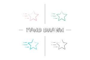 Flying star hand drawn icons set