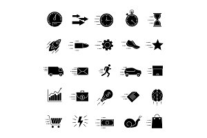 Motion glyph icons set