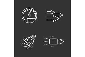 Motion chalk icons set