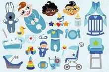 Baby boy flat icons set
