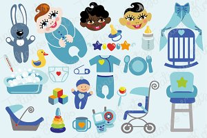 Baby boy flat icons set