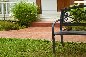 Garden stone path with chair