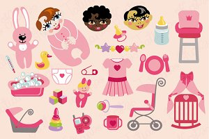 Baby girl flat icons set
