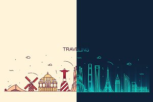 Day and night traveling background
