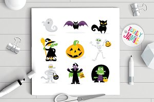 Halloween Monsters Icons Set