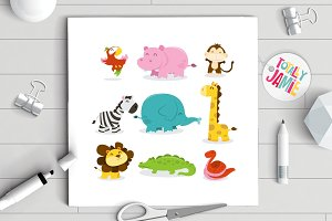 Happy Jungle Animals Icons Set