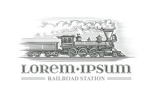 Vintage locomotive drawing. Vector.