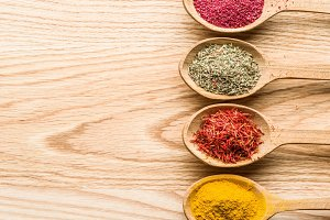 Assortment of colorful spices in the