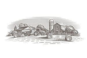 Farm landscape illustration.
