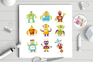 Happy Retro Robots Set