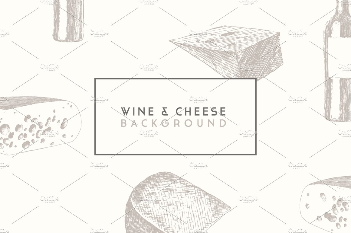 Trendy wine and cheese menu design ~ Graphic Objects