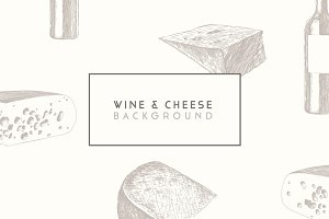 Trendy wine and cheese menu design
