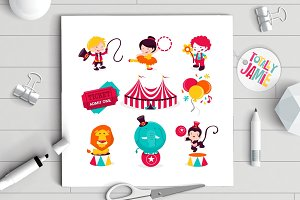 Carnival Circus Icons Set