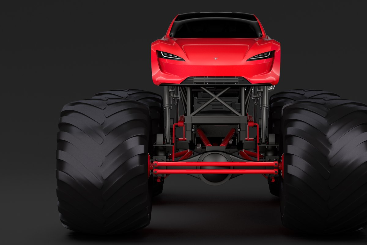 Monster Truck Tesla Roadster
