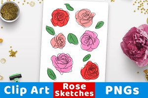 Sketch Roses Clipart