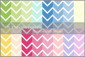 16 pastel chevron digital papers