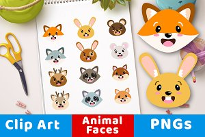 Cute Forest Animal Faces Clipart