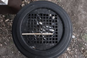 Street ashtray. Trashcan with cigare