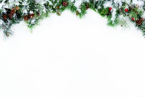 Snowy Christmas border on white