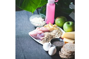 Fitness food.  Theme of nutrition