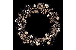 Gold autumn floral wreath