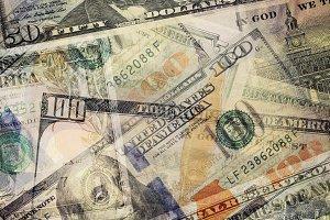 USD dollar bills overlay